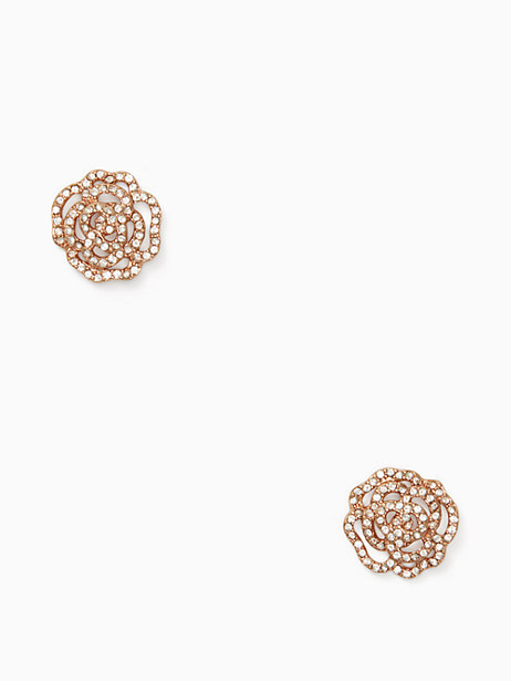 Kate Spade Crystal Rose Studs, Clear/Rose Gold