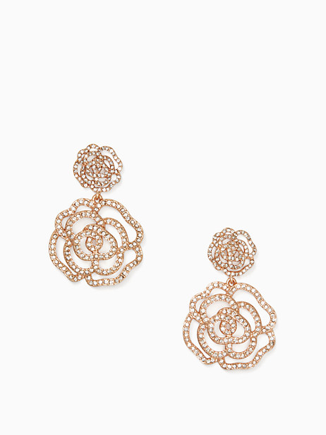 Kate Spade Crystal Rose Drop Earrings, Clear/Rose Gold