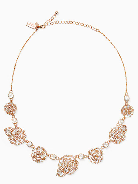 Kate Spade Crystal Rose Necklace, Clear/Rose Gold