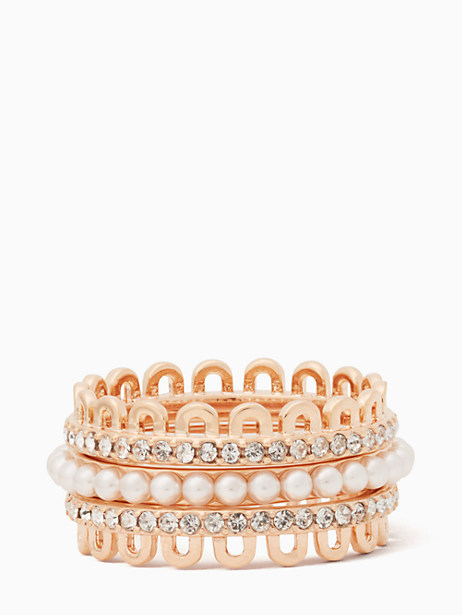 Kate Spade Chantilly Charm Stackable Ring Set, Blush - Size 5