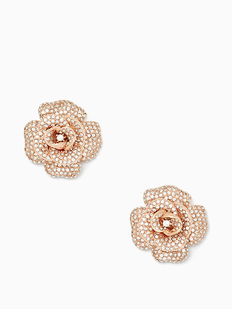 Kate Spade Midnight Rose Statement Studs, Clear/Rose Gold