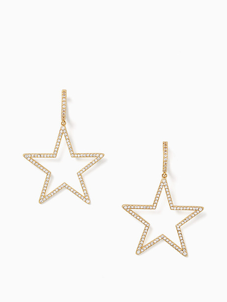 Kate Spade Seeing Stars Star Hoops, Clear/Gold
