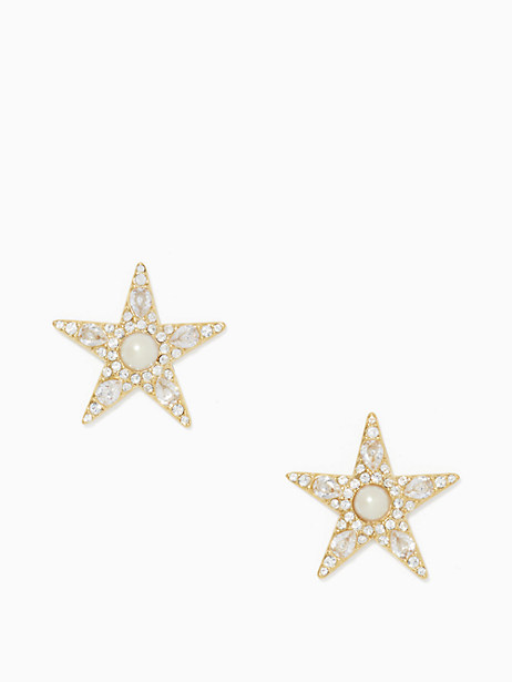 Kate Spade Seeing Stars Star Statement Studs, Clear/Gold