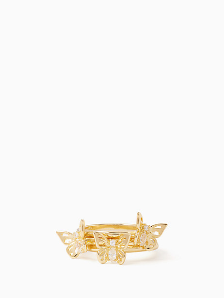 Kate Spade Social Butterfly Stackable Ring Set, Clear/Gold - Size 5