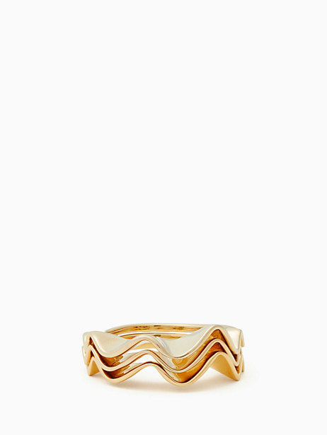 Kate Spade Frilled To Pieces Stackable Ring Set, Gold - Size 5