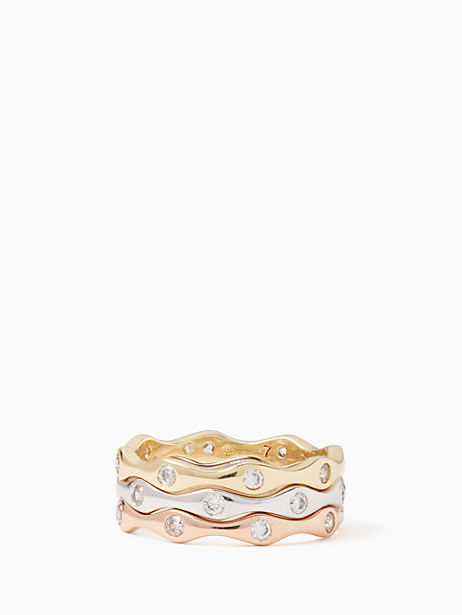Kate Spade Heavy Metals Wave Stackable Ring Set, Metal - Size 5