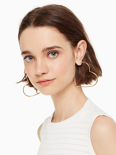 scrunched scallops heart large hoops by kate spade new york