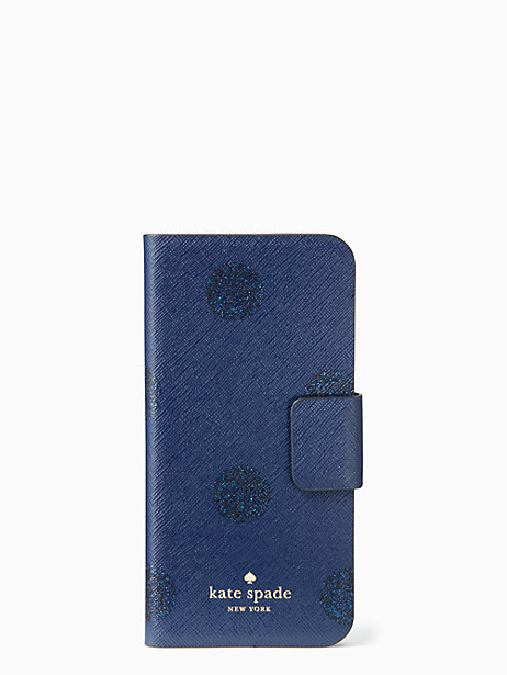 Kate Spade Glitter Dot Folio Iphone 7 Case, French Navy/Glitter Dots