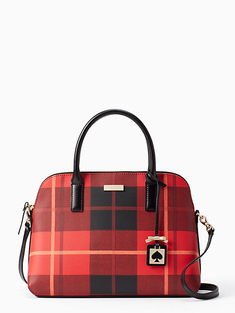 Kate Spade Brightwater Drive Small Rachelle, Woodland Plaid Cherry Liqueur