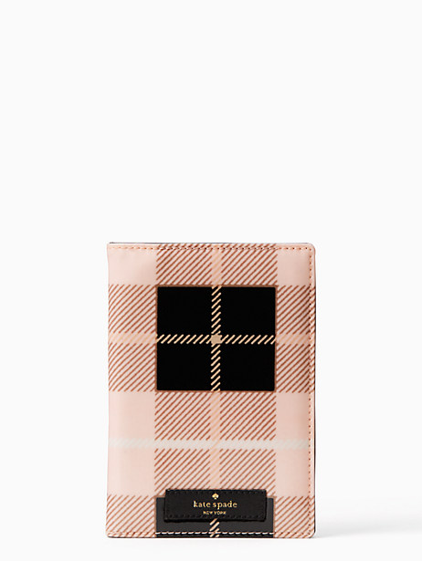Kate Spade Daycation Passport Holder, Woodland Plaid Pastry Pink