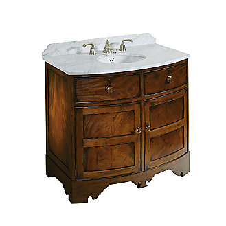 Shown is the For Country Vanity in Burl Mahogany, Pre-cut Marble Top in White Carrara, Michael S Smith Undercounter Basin, and For Country Basin Set in Antique Silver