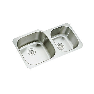 Shown is the Two Bowl Extra Large/Medium Stainless Steel Sink with the Bacchus Hi-Arc Kitchen Faucet in Chrome