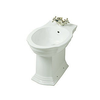 Shown is the Hampstead Bidet in Stucco White with the Hampstead Monobloc Bidet Set in Nickel Silver