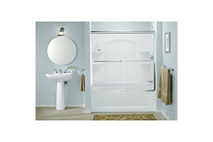 "Finesse™ Sliding Bath Door featuring Quick Install™ Mounting System - Height 55-3/4"", Max. Opening 57"""