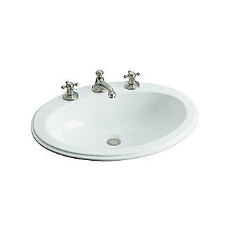 Shown is the Kalligraphos Self-Rimming Basin with Overflow in Stucco White with the Hampstead Basin Set with Traditional Spout in Brushed Nickel