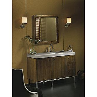 Shown is the Vir Stil 1.5 Vanity in Black Walnut, Grigio Limestone Vanity Pre-cut Top, and Bronze Basin Set, Drawer Pulls and Vanity Base