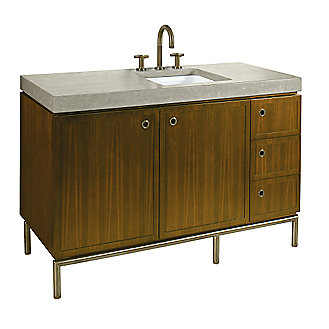 Shown is the Vir Stil 1.5 Vanity in Black Walnut, Grigio Limestone Pre-cut Vanity Top, Drawer Pulls an Vanity Base in Nickel Silver