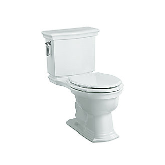 Shown is the Hampstead Two-Piece Toilet and Colored Wood Seat in Stucco White, and Chrome Trip Lever