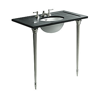 Shown is the For Town Console Table Top in Nero Marquina, Michael S Smith Undercounter Basin in Stucco White, For Town Console Table Legs and Basin Set with Lever Handles in Nickel Silver