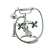 For Town by Michael S Smith Bath Set with Handshower, Green Nephrite Jade, Cross Handles