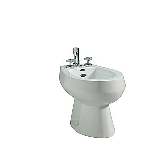 Shown is the Persephone Bidet in Stucco White with the One Bidet Set with Cross Handles in Chrome