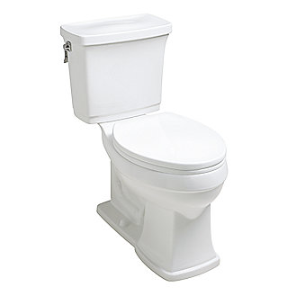 Shown is the Bridgeton Two-Piece High Efficiency Toilet in Stucco White, and Classic Toilet Seat in Stucco White