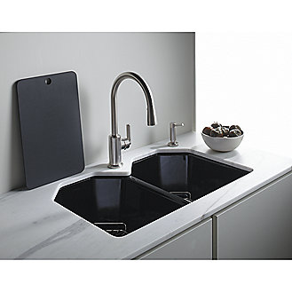 Shown is the Cast Iron Kitchen Sink with bottom basin racks in Stucco White with Laura Kirar Vir Stil Minimal Single Control Kitchen Faucet in Chrome