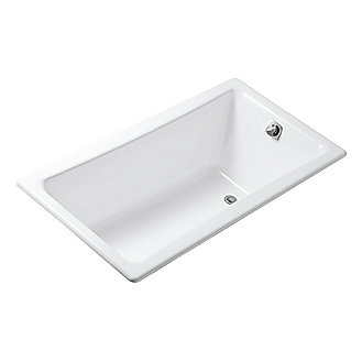 Shown is the Barbara Barry Cast Iron Bathtub in Stucco White with a Waste and Overflow in Chrome