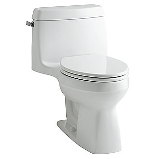 Shown is the Citizen One-Piece Toilet with Seat in Stucco White and Chrome Trip Lever Upgrade
