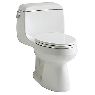 Shown is the Persephone One-Piece Toilet and Toilet Seat in Stucco White with Chrome Trip Lever Upgrade