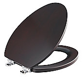 Maplewood Slow-Close Toilet Seat, Elongated with Chrome Trim