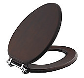For Country by Michael S Smith Toilet Seat, Elongated, Burl Mahogany Finish with Chrome Trim