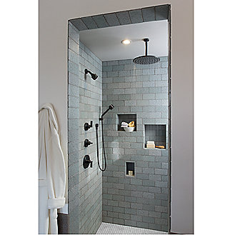 Shown is the One Raindome and Wall-mounted Showerarm in Chrome