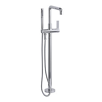 Shown is the One freestanding bath filler with the One multi-function handshower