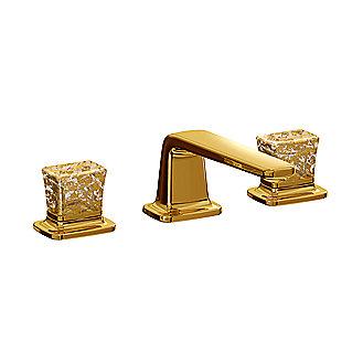 Kallista per se widespread basin faucet set gold flake - Gold bathroom faucets with crystal handles ...