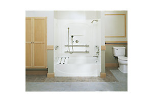 "Acclaim™, 60"" x 54"" Back Wall with Grab Bars"