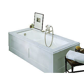 Shown is the Michael S Smith Bathtub in Stucco White with the Michael Smith Waste and Overflow in Chrome