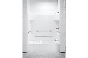 "Accord® 60"" x 30"" x 72"" Tile End Wall Set with Grab Bars - Left-hand"