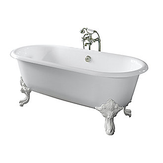 Shown is the Circe Cast Iron Claw Foot Bathtub in Croquet White interior (the outside of the tub is painted white post-purchase).