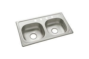 "Sterling 33"" x 19"" x 6"" Double-basin,Self-Rimming"