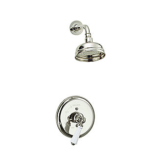 Shown is Hampstead Showerhead with Arm and Pressure Balance Valve Trim in Nickel Silver with White Porcelain Lever