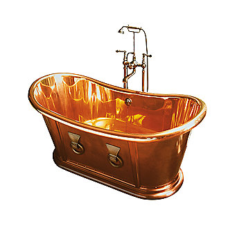 Shown is the Archeo Copper Bathtub and Archeo Copper Waste and Overflow