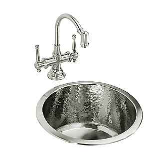Shown is the Monte Carlo II Round Bar Sink in Brushed Nickel with the Bacchus High-Arc Bar Set Faucet in Brushed Nickel