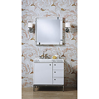 Shown is the Vir Stil Mirror in White Lacquer with Chrome accents
