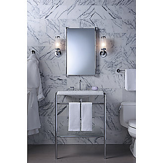 Shown is the One Console Table Top in White Carrara, Console Table Legs with Shelf in Chrome and One Basin Set in Chrome