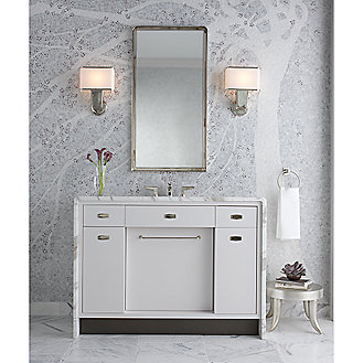 Shown is the Jeton Vanity in Blanche Lacquer, Vanity Top in Statuary White, Vanity Hardware in Nickel Silver, Basin in Stucco White, Basin Set in Nickel Silver