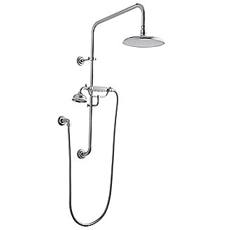 Shown is the For Town/Country Handshower Assembly with White Porcelain Handle in Nickel Silver