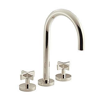 Kallista Deck Mounted Bath Faucet Set Gooseneck Spout Cross Handles P2440