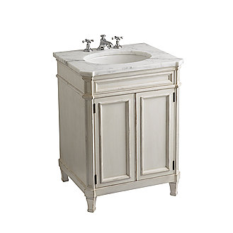 Shown is the Bellis Wood Vanity in Chestnut, with a Bellis Marble Top in Bleu De Chine, Citizen Small Undercounter Basin and Bellis Noble Basin Set with Cross Handles