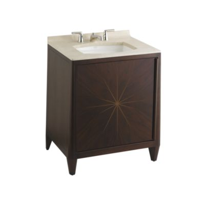 Shown Is The Barbara Barry Counterpoint Vanity In Brunette, With Crema  Marfil Marble Vanity Top